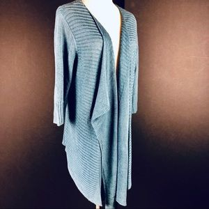 Eileen Fisher Draped Cardigan Sweater Blue Size L